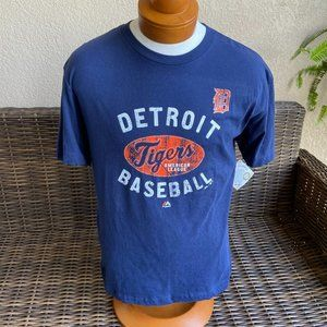 Majestic Detroit Tigers Blue Orange Tee Shirt M